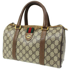 GUCCI GG Supreme Vintage Web Boston Hand Bag Brown PVC Leather Authentic #A91 M