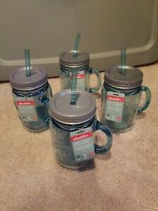4 NEW Aladdin Classic Ice Blue Insulated Mason Jar Tumbler Mug w Straw 20oz