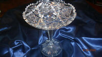 VINTAGE CUT CRYSTAL COMPOTE MARKED LIBBEY