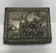 Vtg Silver Tone Metal Footed Jewlery Box Casket Red Velvet Lined Courting Couple