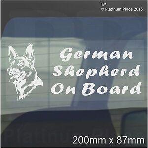 German Shepherd Dog On Board Sticker-Car,Van,Truck-Self Adhesive Pet Window Sign