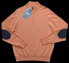 Men's DANIEL CREMIEUX Apricot Orange 1/2 Zip CASHMERE Sweater XL XLarge NWT $295