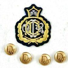 CHRISTIAN DIOR BUTTONS Vintage 1980s Gold tone puffed round w/ Patch Waterbury