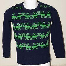 Vintage CARROLL REED Blue Reindeer Christmas Warm Ski Sweater Women's S/M Rare