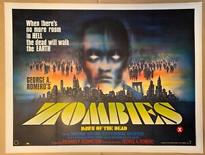 Zombies Dawn Of The Dead Original UK Film Poster LINEN BACKED 1980 Quad w/cert