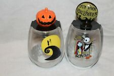 THE NIGHTMARE BEFORE CHRISTMAS WINE GLASS WITH STOPPER SET OF 2 NEW