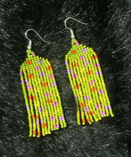 Seed Bead Boho Style Fringe Earrings Colorful Spring Earrings Hand Made Glass