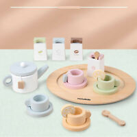 Wooden Tableware Toy Set Tea Coffee Cup Spoons Tray Kitchen Pretend Play Toy