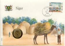 superbe enveloppe NIGER dromadaire pièce monnaie 5 FRS 1972 UNC NEW timbre