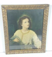Antique Gold Framed Photograph Jesus Christ As a Boy 1800's Religion Picture
