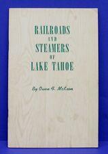 Book Railroads & Steamers of Lake Tahoe Owen McKeon Western Railroader