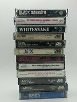 12 Vintage Rock Cassettes AC/DC-MOTLEY-WHITESNAKE-BLACK SABBATH-DOKKEN-BRUCE S.