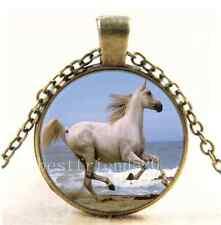 Vintage White Horse Photo Cabochon Glass Bronze Chain Pendant Necklace