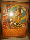 1912 OLYMPIC POSTER --  ORIGINAL STOCKHOLM  -  Framed 31 x 44 Inches  -  Pickup