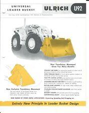 Equipment Data Sheet - Ulrich U92 Bucket Caterpillar 922 A Traxcavator (E5333)