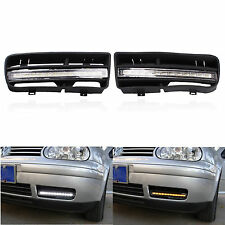 2X For VW Golf MK4 LED Fog Light with Grill Grilles DRL Turn Signal Lamp Car New