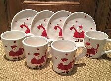 Santa Plate / Mug Father Christmas China Fun Novelty White Red Tableware