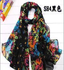 Womens Girls Wrap Shawl cotton Stole Soft Scarf Flower 20x60 inch black fashion-