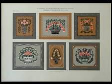 ORNEMENTS ART NOUVEAU -1909- LITHOGRAPHIE, LANGE, FLEURS