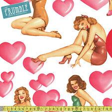 Alexander Henry Fabric Sweethearts Natural PER METRE Pin Up Retro Girls Valentin