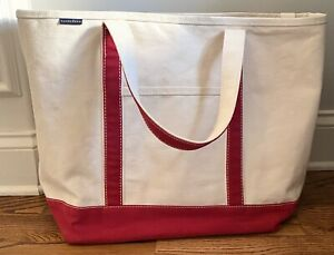 Lands End Large Canvas Tote Bag BEACH TOTE Shoulder Straps Purse Carry All Boat