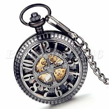 Steampunk Mechanical Hollow Skeleton Hand-Winding Pocket Watch Pendant Necklace