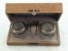 Antique Open Salt Cellars Cut Crystal Silver Plated Presentation Case Box Spoons