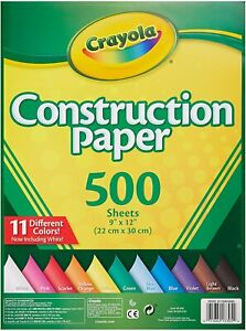 Crayola Construction Paper 120 / 240 / 500 Sheets 10 Different Colours NEW