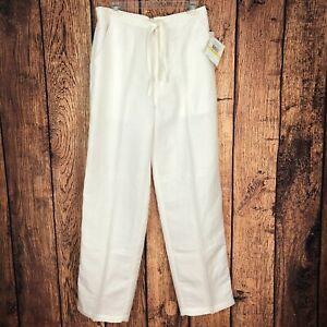 NWT Cubavera $65 Men's Sz M 32-34 White Linen Blend Straight Casual Pants P5