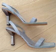 Giorgio Armani Summer Sandals Italy size 37.5 UK 4.5 Blue/Azure & Silver Heels