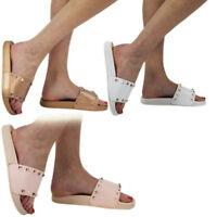 New Women's Ladies Comfy Plain Rubber Stud Sliders Flats Shoes Slides Slippers