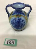 """Vintage Hand Painted Portuguese Vase Flow Blue Yellow 4.3"""" Tall Signed Numbered"""