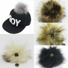 11Cm Faux Fox Fur Pom Pom Ball with Press Button Removable Fox Fur Hat Accessory