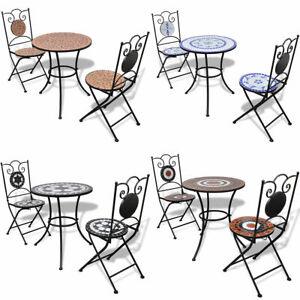 vidaXL Mosaik Bistro Set Gartentisch Mosaiktisch Sitzgruppe Tisch Stühle Möbel