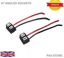 2x H7 Wired Angled Socket Bulb Holders LED HID XENON 12v Fog Lights Head light