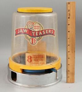 Vintage Working 1950s Aluminum & Plastic Jaw Teasers 1c Coin Op Gumball Machine