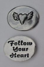 o Follow your Heart angel wings spirit PEWTER POCKET TOKEN CHARM basic coin