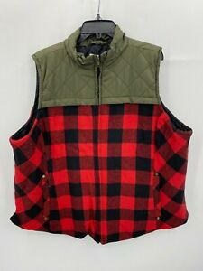 Maurices Womens Plus Size 3X Green Red Flannel Quilted Puffer Vest Full Zip