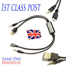 BMW & Mini iDrive Usb Y Aux Audio Cable Lead Charging Samsung Galaxy HTC SONY