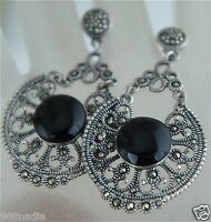 VINTAGE STERLING 925 SILVER FILIGREE MARCASITE DANGLE VICTORIAN POST EARRINGS