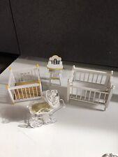 Vtg wood Doll House Mini Furniture Nursery Child Bedroom set crib play pen lot