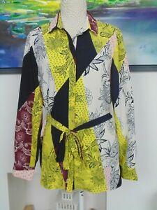 River Island Size 14 Long Blouse Shirt Patchwork Pattern Paisley Multicoloured