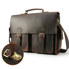 "Men Real Leather Briefcase 17"" Laptop Bag Shoulder Bag Handbag Crossbody Satchel"