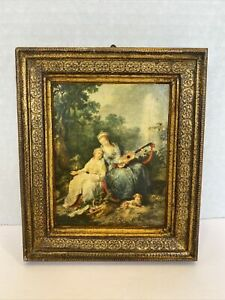 G. B. - FLORENCE ITALY 1900s Hilare Music Lesson MINIATURE GOLD FRAME PRINT #882