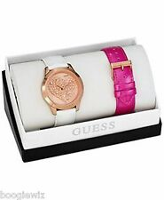 GUESS LADIES GLITZ HEART ON ROSEGOLD BEZEL W/2 BAND BOX SET, U0528L1, NIB,