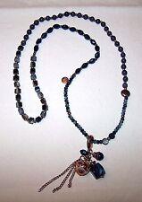 Collana Perline grigie, azzurre, rame con ciondoli