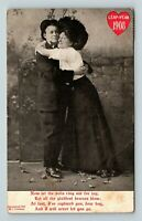 1908 Leap Year Greeting Lady Raptures Hugging Man Comic Heart Vintage Postcard