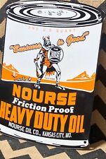 VINTAGE PORCELAIN NOURSE HEAVY DUTY  GAS AND OIL SIGN
