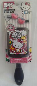 Sanrio Hello Kitty Hair Brush and 2 Mini Clips Set Age 3+