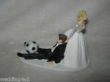 Wedding Party Reception Soccer Ball Sports Bride Dragging Groom Cake Topper